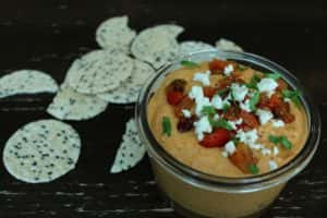 Greenhouse grown red bell pepper humus dip
